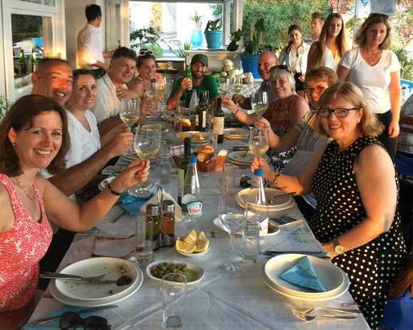 Eating out on Santorini with Azamara Club Cruises Photo: Heatheronhertravels.com