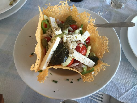 Greek salad on Santorini with Azamara Club Cruises Photo: Heatheronhertravels.com