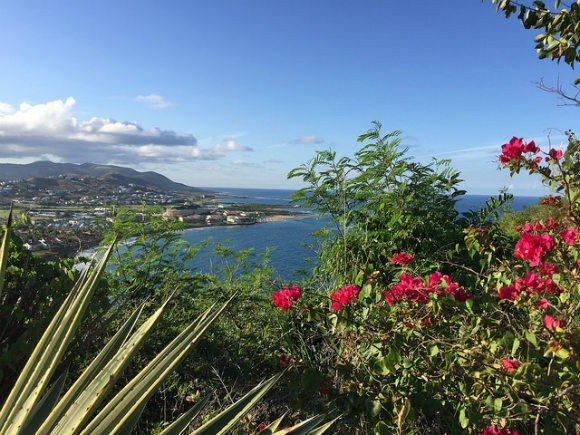 View of Frigate Bay from Timothy Hill on St Kitts Photo: Heatheronhertravels.com