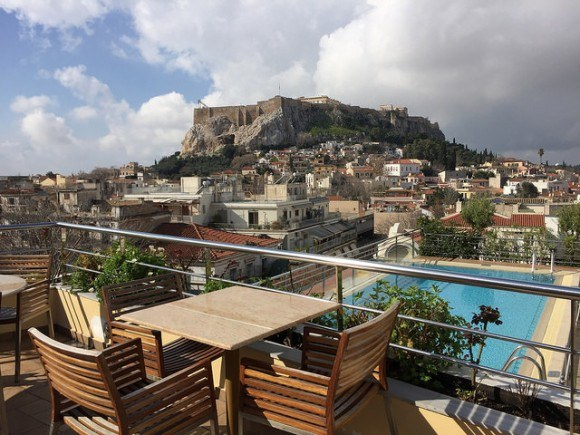 Roof terrace pool at Electra Palace Hotel in Athens Photo: Heatheronhertravels.com