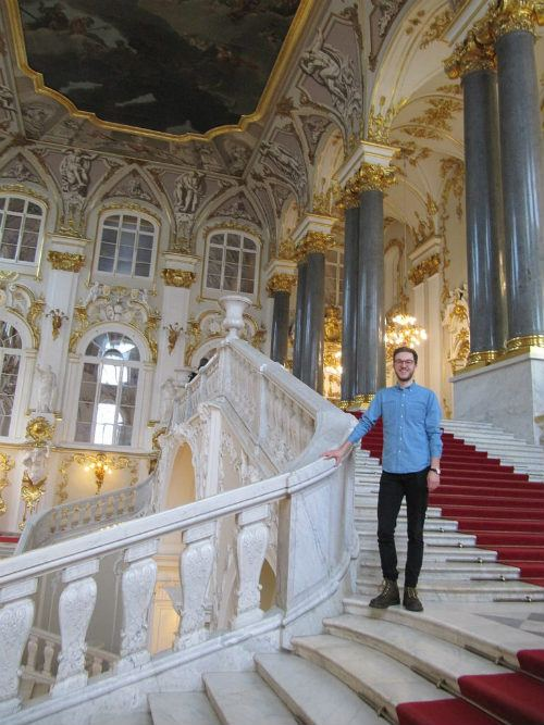Nick on the grand staircase of the Hermitage Photo: Audley Travel