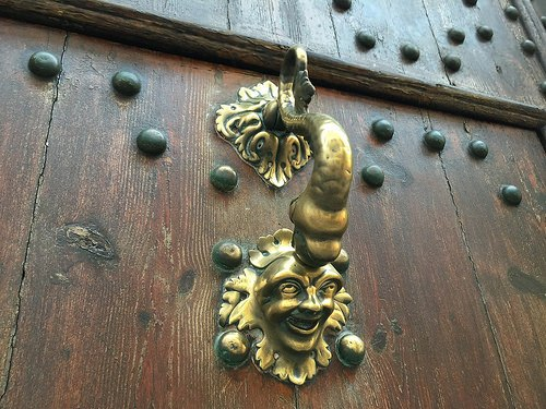 Old door knocker in Mahon Photo: Heatheronhertravels.com