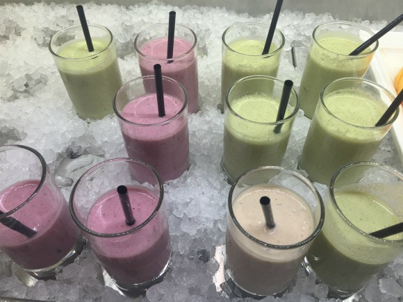 Healthy fruit smoothies on SS Catherine Photo: Heatheronhertravels.com