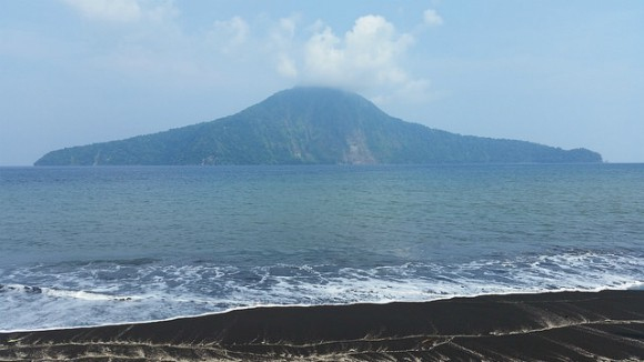 Krakatau, view from beach to neighboring island Photo: Heatheronhertravels.com