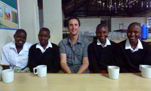 Mark with Kisaruni pupils