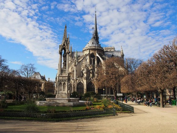Notre Dame de Paris from Place Jean-XXIII Photo: Heatheonhertravels.com