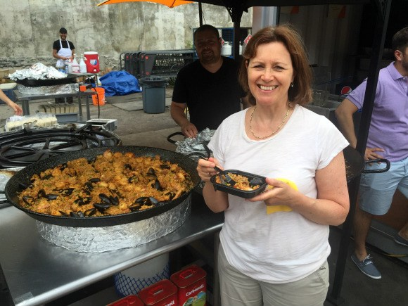 Enjoying Paella at the food festival in Montreal Photo: Heatheronhertravels.com