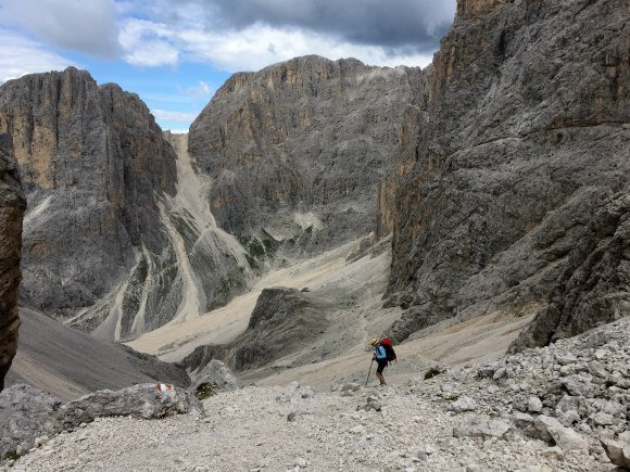 Hiking through a lunar landscape in the Dolomites Photo: Heatheronhertravels.com