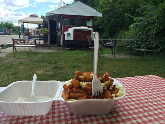Poutine at a roadside stop in Ontario Canada Photo: Heatheronhertravels.com