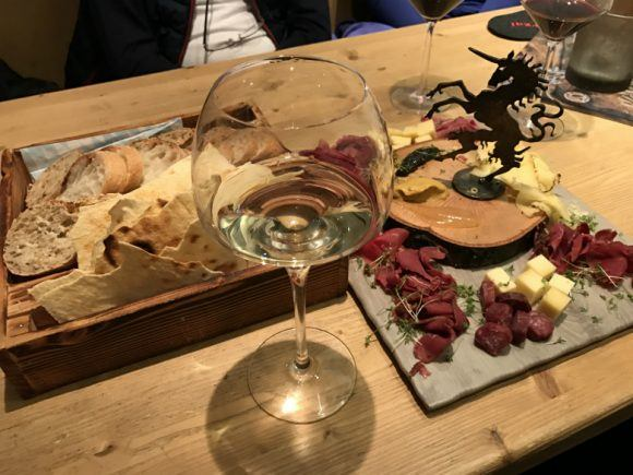 Austrian wine and cheese at Plangger