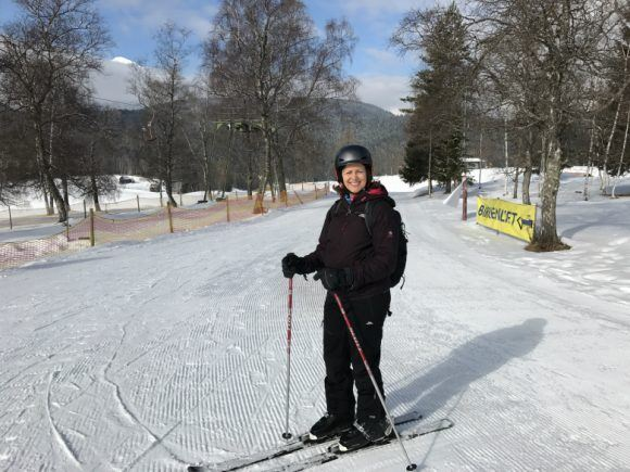 Heather trying the downhill ski in Seefeld