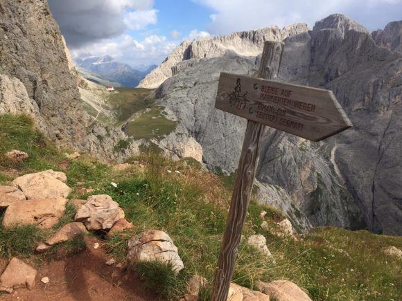 Signpost hiking in the Dolomites