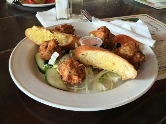 Conch fritters at Reggae Beach Bar St Kitts Photo: Heatheronhertravels.com