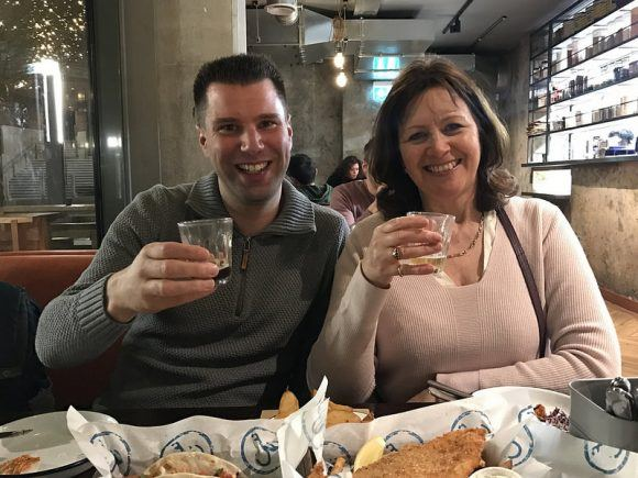 Heather and Erik at Wild Beer in Wapping Wharf Photo: Heatheronhertravels.com