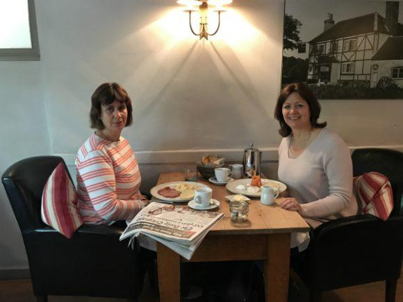 Heather and sister at breakfast Halfway Bridge Inn Sussex photo: Heatheronhertravels.com