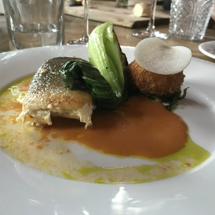 Cod with crab and Pak Choi at Backwell House in Bristol