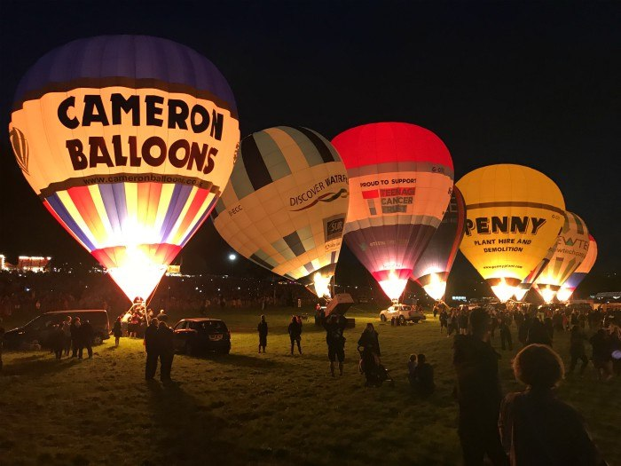 Night Glow at Bristol Balloon Fiesta Aug 17 Photo: Heatheronhertravels.com