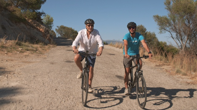 Larry Lamb goes cycling in Palma Mallorca