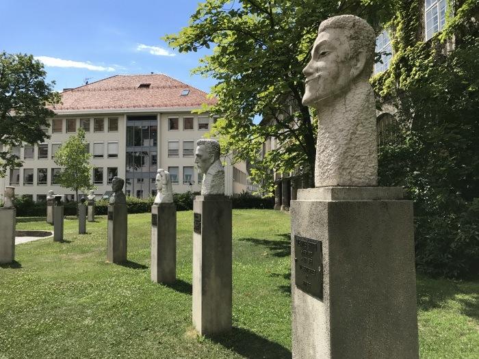 Statues of famous residents of Graz in Austria Photo: Heatheronhertravels.com