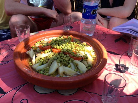 Enjoying our Moroccan tagine at Paradise Valley in Morocco Photo Heatheronhertravels.com