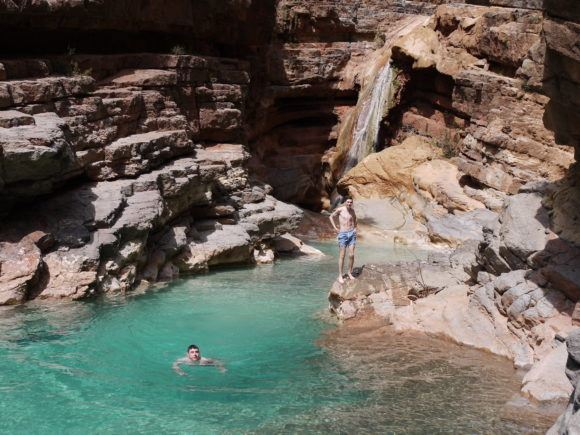 Swimming at the final waterfall at Paradise Valley in Morocco Photo Heatheronhertravels.com