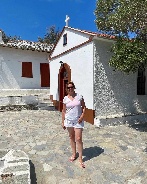 Agios Ioannis Mama Mia chapel, Skopelos Greece Photo Heatheronhertravels.com