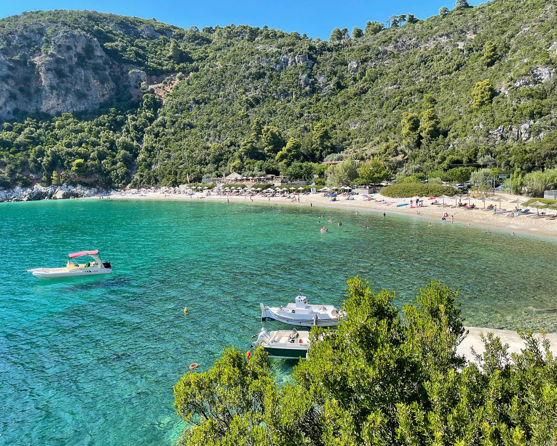 Limnonari Beach Skopelos, Greece Photo Heatheronhertravels.com